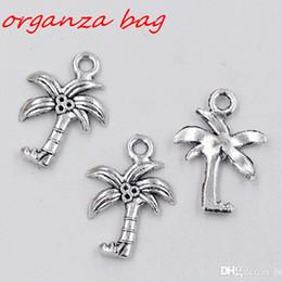 Wholesale diy coconut tree - MIC 100Pcs Antique silver zinc alloy Coconut Palm Tree Charms 15x22mm DIY Jewelry