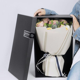 Wholesale Silver Paper Straws - Korean Vintage Flower Wrapping Paper Double Gold and Silver Lines Bouquet Packaging Paper Flowers Packaging Materials 20pcs lot