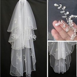 Wholesale Bride Combs - 2017 hot sell 2 layer of shiny pearl pearl white ivory wedding bridal veil and tiara comb attachment AF47 bride