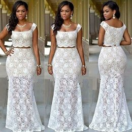 Wholesale Navy White Outfit - New Arrival Two Piece African Prom Dresses 2017 Bridal Outfits Dresses Evening Wear Party Gowns Dinner Reception Dress
