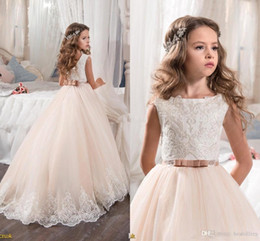 Wholesale Girls Blue Bow Pageant Dresses - 2017 New Design Lace Princess Baby Girl Flower Girls' Dresses Sheer Crew Neck Little Cap Sleeves Backless Formal Girl's Pageant Dresses