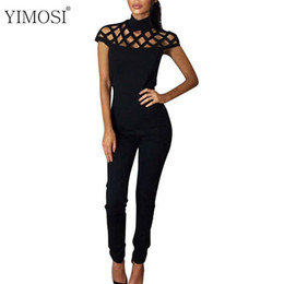 Wholesale Jumpsuits Chiffon For Ladies - YIMOSI Summer Jumpsuit Womens High Neck Caged Sleeve Women Jumpsuit Long Pants Overalls For Women Ladies Rompers#913