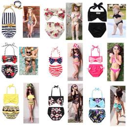 Wholesale Girls Plaid Swimsuits - 2017 Newest 13 Styles Baby Girls Swimwear Summer Kids Bikini Swimsuit bow printing Children Bathing Suit Kids Girls Swimming Suit