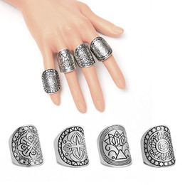 Wholesale knuckle band rings - Vintage Retro Carving Geometric Totem Silver Plated Ring Joint Knuckle Nail Ring Set 4 Styles Latest Fashion Trend Jewelry C47L