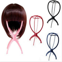 Wholesale Wholesale Hat Stand - Folding Plastic Wig Stand Stable Durable Hair Support Display Wigs Hat Cap Holder Tool Rosy Blue Black White Color Free Shipping