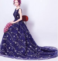 Wholesale Diamond Prom Ball Dresses - New Arrival Hot Sale Fashion Special Elegant Luxury Princess Banquet Blue Sexy Halter Diamond Trailing Tribute Evening Wear Prom Gowns