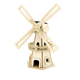 Wholesale Wholesale Solar Kit Diy Toy - Wholesale- Solar Powere Windmill DIY Jigsaw Wood Toys Winnower Kits Windmill Puzzle Child Education Toy