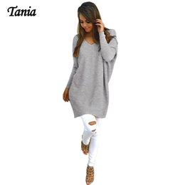 Wholesale Oversized Sweaters Wholesale - Wholesale-TANIA Fashion V-neck Pullovers Cotton Sweater Women Knitted Winter 2016 Oversized Loose Pull Femme manche longue