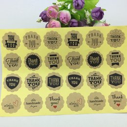 cerchio adesivo cerchio Sconti Commercio all'ingrosso- 500 pezzi adesivi fatti a mano stile 12 Design Vintage Kraft Paper Grazie Circle Seal Sticker / Dia 3cm Round etichette di imballaggio di carta