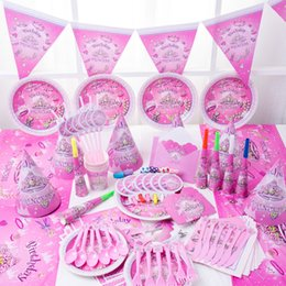 Wholesale Tablecloth Setting - Disposable Tableware Sets Paper Cup TableCloth Imperial Crown Fantasy Girls Theme Decorate Kid Birthday Party Supplies 37 8mxe C R