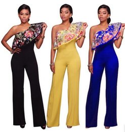 Wholesale Lace Outfits For Women - Hot Rompers Jumpsuits for women Fashion embroidery Flounced Lace Elegant Bodysuit Outfits Sexy Off Shouder Long playsuits 4 colors