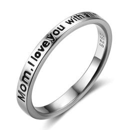 Wholesale I Love Mix Gift - Genuine 100% 925 Sterling Sliver Rings for Women Romantic Style Rings With I Love You With All My Heart Engraving