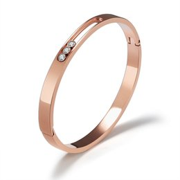 Wholesale Ellipse Stainless Steel - New products listed fashion jewelry stainless steel ellipse cubic zirconia rose gold women bangle free shipping