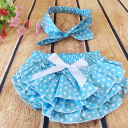 Wholesale Minnie Polka - ins baby girls kids toddler Mickey Minnie polka dots cake bloomers shorts pants lace diaper covers cake + infant bowknot headband Headwrap