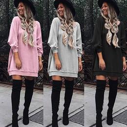Wholesale Women S Top Dress Sweater - Autumn Fall Pink Gray Black sweater Dress Women Long Sleeve Loose Sweatshirt Tunic Dresses Casual Street Long Tops Vestido
