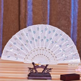 """Wholesale Wholesale Flower Fans - Sequins Hand Flower Fashion Fan Colorful Spanish Embroidered """"Peacock Showing Expectations Of Love""""Wedding Party Decor Folding Fan"""