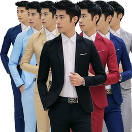 Wholesale Korean Casual Formal Dressing - Wholesale- Fashion Custom made Jacket Formal Dress Mens Suit Set men casual wedding suits groom Korean Slim Fit Dress (coat)