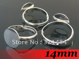 Wholesale Ring Tray Set - Free ship! 200PCS 14mm Round Glue pad Platinum Dull Silver Plated Adjustable Ring Base Blanks Trays and Bezel Setting Findings
