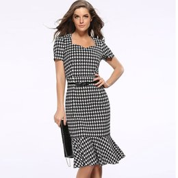 Wholesale Houndstooth Party Dress - Gown Empire Waist Knee-Length Mermaid Houndstooth Work Office Elegant Casual Bodycon Pencil Evening Party Dresses Plus Size S-XXXL DK1735LY