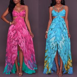 Wholesale Beach Vacation Dresses - Camisole Printing women mini club Dress maxi fashions Seaside On Vacation Sandy Beach Longuette Woman Bohemian Casual Dresses models