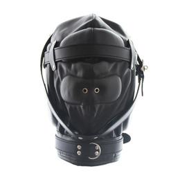 Wholesale Leather Masking - Hot Sale Faux Leather Full Gimp Hooded Mask Padded Locking Blindfold Open Mouth Gag Like Restraint Slave BDSM Bondage Sex Toys Full Head