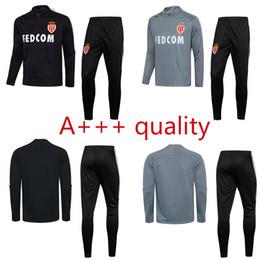 Wholesale Clubbing Pants Men - new 2017 adult Monaco Club tracksuit black grey soccer training suit survetement 17 18 top quality sweater pants