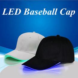 Wholesale Glow Dark Hats - LED Baseball Caps Cotton Black White Shining LED Light Ball Caps Glow In Dark Adjustable Snapback Hats Luminous Party Hats 50pcs OOA2116
