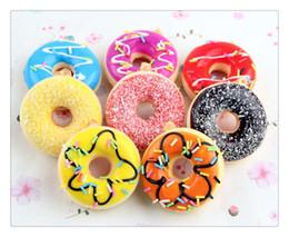 encantos del teléfono celular de cristal Rebajas Venta al por mayor caliente Kawaii Kids Toys colorido Donut Squishy Doughnut Pan Strap Decoration Toy regalos venta al por mayor Squishies envío gratis