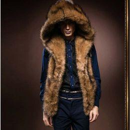Atacado- 2017 nova moda masculina de inverno homens colete de pele com capuz de pele grossa quente coletes sem mangas Casaco Outerwear masculino casacos Y279 de