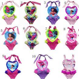 Wholesale Girls Swimsuit Heart - 10color Girl Swimwear heart Bikini moana One-Pieces Swimsuit Onesies Caroon Swimming Clothes Girls Summer moana Trolls heart Swim Kids Cloth