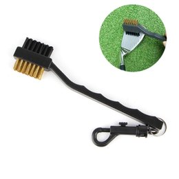 cleaning mats Promo Codes - Wholesale- Sided Brass Wires Nylon Golf Club Brush Groove Ball Cleaner Cleaning Kit Tool