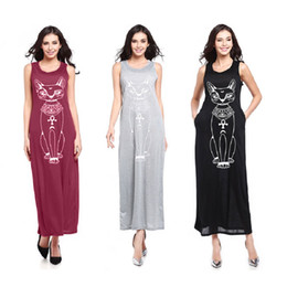 Wholesale Maxi Tunic - Women's Cat Print Bohemian Dresses Sexy Long Casual Boho Long Maxi Beach Dress Club Party Bodycon Dress Tunic Vestidos LYQ64 RFF