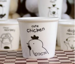 Wholesale Chinese Porcelain Spoons - Wholesale- free shipping - lovely animal Chinese Zodiac (chicken) cups Ceramic Eco Cup porcelain Mug Coffee Cup milk cup