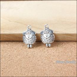 Wholesale Wholesale Metal Sheep Charms - Wholesale- 30 pcs Vintage Charms Sheep Pendant Antique silver Fit Bracelets Necklace DIY Metal Jewelry Making 20113