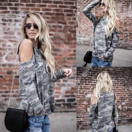 Wholesale Green Camouflage Shirt - 2017 New t shirt fashion women clothing lol Casual Camouflage Sexy Blouse Tops O-Neck Long Sleeve Cold the Shoulder T-shirt