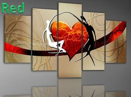 Wholesale Red Heart Canvas Wall Art - Handmade Modern design red heart Oil Painting 5 Piece Canvas Art lover couple Wall picture Living Room bedroom Decoration gift