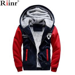 Wholesale Brown Overalls - Wholesale- Riinr 2017 New Fashion Fleece Hoodies Men Winter Casual Men's Jackets Patchwork Men Coats Plus Size Men's Overalls Free Shipping