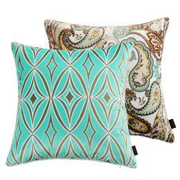 Wholesale Paisley Bedding - 18 Inches Elegant Square Pillow Paisley Floral Pattern Velvet Cushion Cover Sofa Waist Pillow Case Bedding Sets