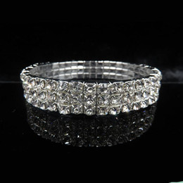 Wholesale Clear Cuffs - Wedding Evening Party Sillver Bracelet Bling Bling 3 Row Rhinestone Crystal Stretch Bracelets Bangle Prom Bridal Jewelry Wedding Accessory