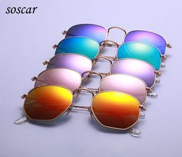 Wholesale Unique Mirror Frames - 2017 Unique Hexagonal Flat Lenses Sunglasses soscar 3548 Brand Designer Sunglasses Metal Frame Coating Sunglasses with Retail Package
