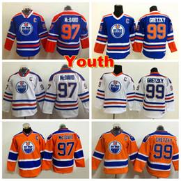 Wholesale Vintage Patches - Youth Edmonton Oilers Jerseys 97 Connor McDavid Jerseys Kids Throwback Vintage CCM Child 99 Wayne Gretzky Hockey Jersey Boy Stitched C Patch