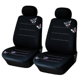 4 unids / set cubierta de asiento delantero del coche establece Universal Fit SUV sedán elástico lavable negro transpirable mariposa desde fabricantes
