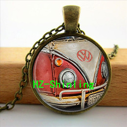 Wholesale Sake Glasses - ON sake Vintage Van Necklace Car Collectors Jewelry Car Collectors pendants glass cabochon necklace art gift for children 2016