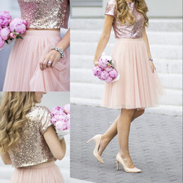Wholesale Light Blouses - 2017 Newest Two Pieces Bridesmaid Dress Sparkly Rose Gold Sequined Blouse Tulle Knee Length Skirt Stylish Separates Junior Bridesmaid Dress