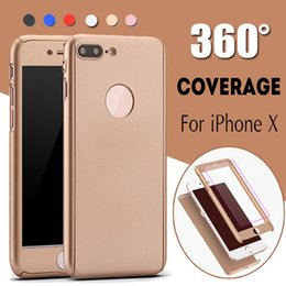 Per iPhone X Custodia Protezione Full Coverage da 360 gradi Slim con cover in vetro temperato per PC per iPhone X 8 Plus 7 Samsung S8 S7 Edge Note 8
