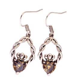 Wholesale peridot heart - Eardrop Lab Olive Green Peridot Silver Plated dangle Hook Earrings Fashion Jewelry Women Wholesale Free Shipping