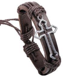 Wholesale Urban Jewelry Wholesale - Cross Bible Charm Braided Bracelet Urban Jewelry Handmade Black Genuine Leather Adjustable Wristband retro Jewelry Wholesale