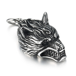 Wholesale Red Head Halloween - New 1pcs Norse Vikings Pendant Necklace Norse Wolf Head Necklace Original Animal Jewelry Wolf Head hange
