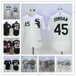 Wholesale Wholsale Shirts - Wholsale Chicago White Sox Flex Base Player #45 Michael Baseball Jerseys Jordan MLB Short sleeve T-shirt Majestic 100% Stitched Black Jersey