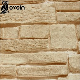 Wholesale Rolling Stones Vintage - Wholesale- Grey Beige Brown Vinyl Wallpaper Brick Wall 3D Effect Tile Brick Stone Wall Paper Roll For Background Wall Modern Coverings